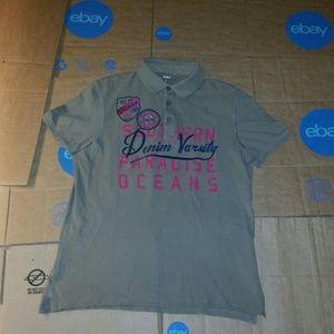 Celio Polo Embroidered Denim Varsity Shirt Large
